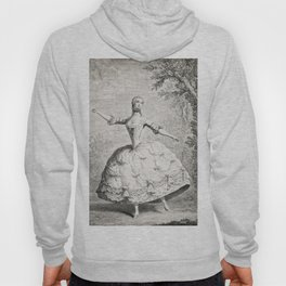 The Dancers, 18th century French ballet woman, black white drawing Hoody