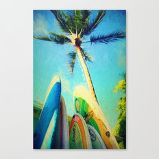 surfboards and palms Canvas Print