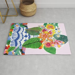 Abstract Flower Bouquet Rug
