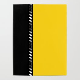 Greek Key 2 - Yellow and Black Poster