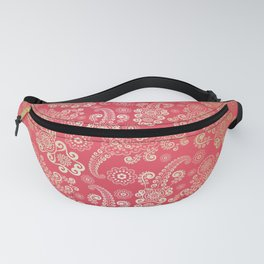 Golden Luxury Paisley on Tropical Pink Background Fanny Pack