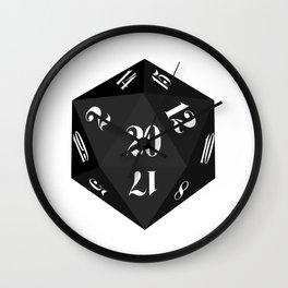 Black 20-Sided Dice Wall Clock
