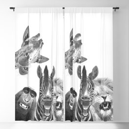 Black and White Jungle Animal Friends Blackout Curtain