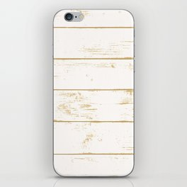 Rustic wooden texture. White and gold antique wood. iPhone Skin