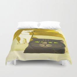 Japanese, Cat, Cubism, Woodblock Print, Cherry Blossom, Midcentury, Modern Duvet Cover