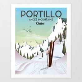 Portillo Ski Chile Ski travel poster. Art Print