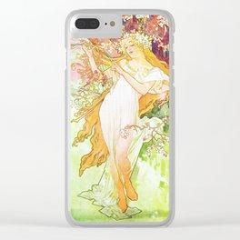 Alphonse Mucha Spring Floral Vintage Art Nouveau Clear iPhone Case