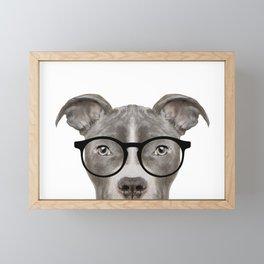 Pit bull with glasses Dog illustration original painting print Framed Mini Art Print