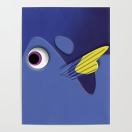 Blue ornamental fish cartoons Poster