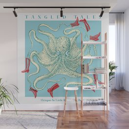 Tangled tales - Octopus in little red riding boots Wall Mural