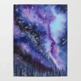 Purple & Blue watercolor galaxy landscape painting Poster