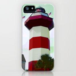 Harbour Town - Hilton Head, South Carolina - candy cane lighthouse - modern nautical photography pri iPhone Case