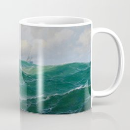 Vintage Ocean Oil Painting with Ship and Waves Coffee Mug