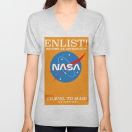 """NASA Enlist! Become an Astronaut """"Travel to Mars"""" Unisex V-Neck"""
