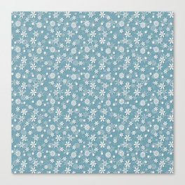 Christmas Icy Blue Velvet Snow Flakes Canvas Print