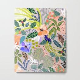 Wander, Floral Colorful Summer Modern Bohemian Illustration, Nature Blush Botanical Tropical Garden Metal Print