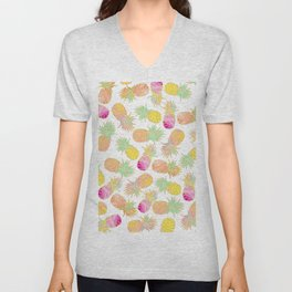 Tropical neon pink teal watercolor faux gold glitter pineapple Unisex V-Neck