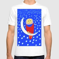 Owl lands on the moon Mens Fitted Tee MEDIUM White