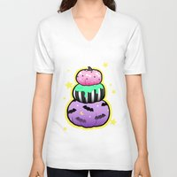 pastel goth V-neck T-shirts featuring Pastel Goth Pumpkin Stack by MagicCircle