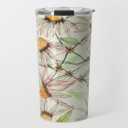Echinacea flower heads botanical fantasy watercolor Travel Mug