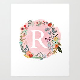 89263fb18 Flower Wreath with Personalized Monogram Initial Letter R on Pink Watercolor  Paper Texture Artwork Art Print