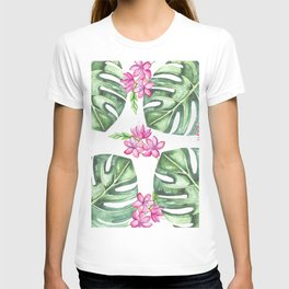 Tropical Flowers And Monstera #society6 T-shirt