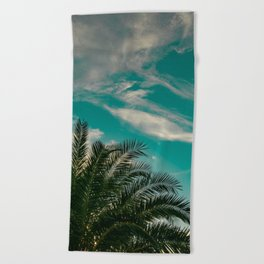Palms on Turquoise - II Beach Towel