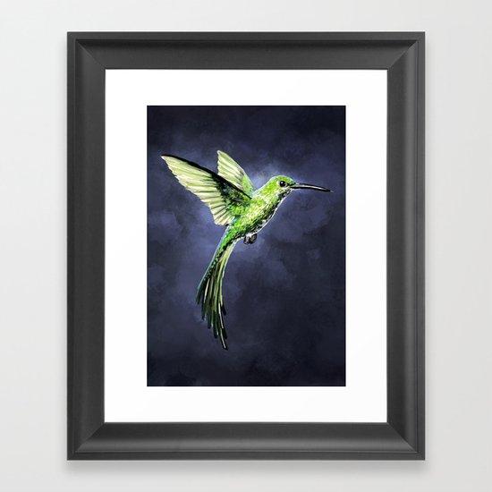 Green Hummingbird Framed Art Print