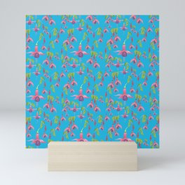 Watercolour Fuchsia Flower Pattern - Sky Blue Mini Art Print