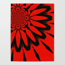The Modern Flower Red & Black Poster