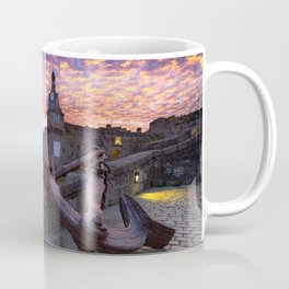 Stronghold At River Neighbouring Haven At Marvellous Evening Red High Resolution Coffee Mug