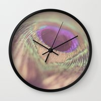 peacock feather Wall Clocks featuring Peacock Feather by Jessica Torres Photography