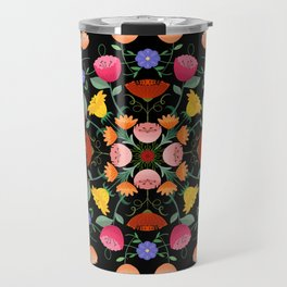 Folk Art Inspired Garden Of Fantastic Floral Delight Travel Mug