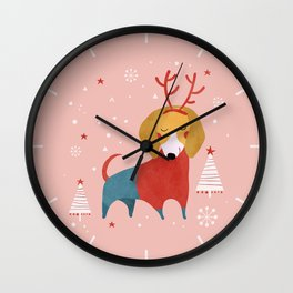 Merry Christmas Dog Card 3 Wall Clock