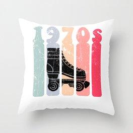 70s Roller Skates Disco Derby Retro Throw Pillow