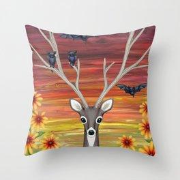 white tailed deer, bats, black eyed susans Throw Pillow