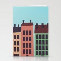 buildings Stationery Cards featuring Buildings by Frostwindz