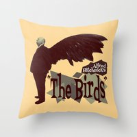 hitchcock Throw Pillows featuring Alfred Hitchcock     The Birds by Silvio Ledbetter