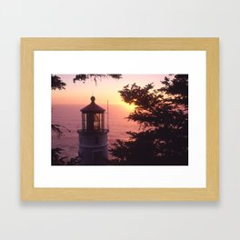 Heceta head sunset Framed Art Print