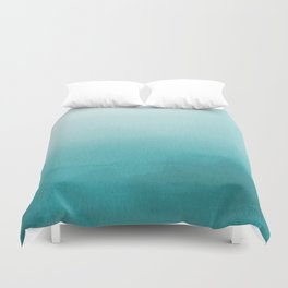 Aqua Teal Turquoise Watercolor Ombre Gradient Blend Abstract Art - Aquarium SW 6767 Duvet Cover