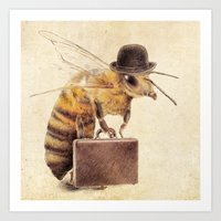 bee Art Prints featuring Worker Bee by Eric Fan