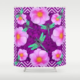 Aqua Dragonflies Pink Roses Purple Abstract Pattern Art Shower Curtain