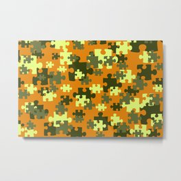 Puzzle green orange pattern Metal Print