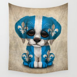 Cute Puppy Dog with flag of Quebec Wall Tapestry