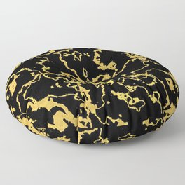 Black And Gold Marble Print Floor Pillow