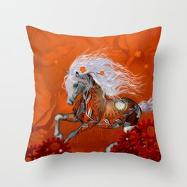 Steampunk, wonderful wild steampunk horse Throw Pillow