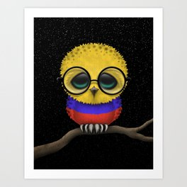 Baby Owl with Glasses and Colombian Flag Art Print