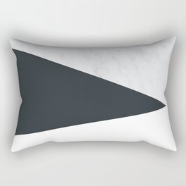 Marble, dark navy ad white Rectangular Pillow