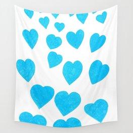 Many Blue Hearts Wall Tapestry