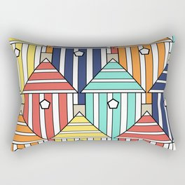 illustration beach cabins, graphic, design and colorful composition Rectangular Pillow